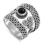 Sterling Silver Bali Ring with Black Onyx sizes 7-12